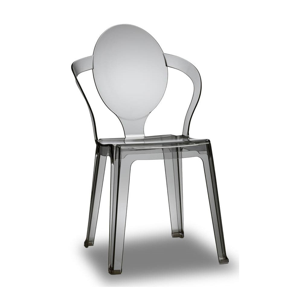 spoon chair in smoked transparent scab