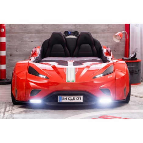 red gts car bed with headlights