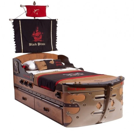 Pirate Ship II Bed in Laminated Wood and Abs
