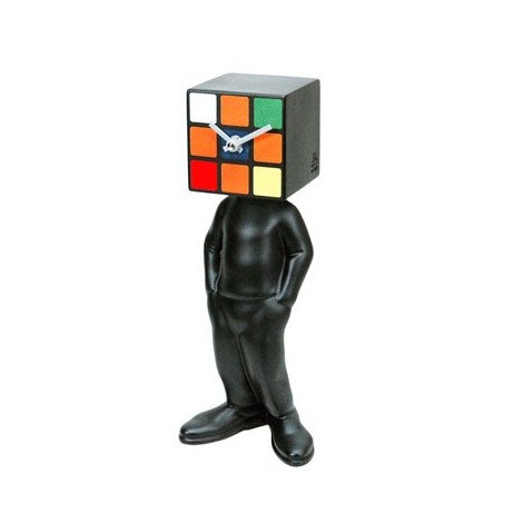 Kubico man table clock with cube head various finishes and designs
