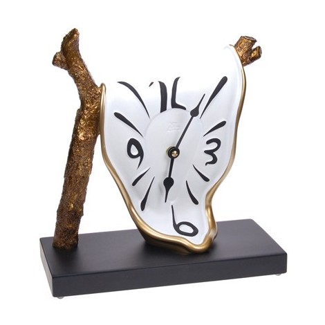 Branch model hand-decorated table clock in resin