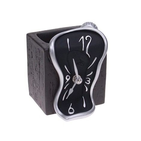 Table clock with white, light blue or black Figueras pencil holder