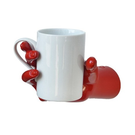 Hand-shaped wall organizer with breakfast cup