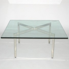 Barcellona glass coffee table by Ludwig Mies van der Rohe