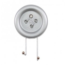 Big Button wall coat hanger measures cm H 12 x W 20 x D 5. In resin and metal