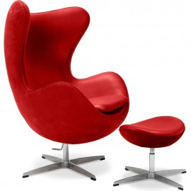 Re-edition of Egg footrest in wool or real Italian leather designed by Arne Jacobsen