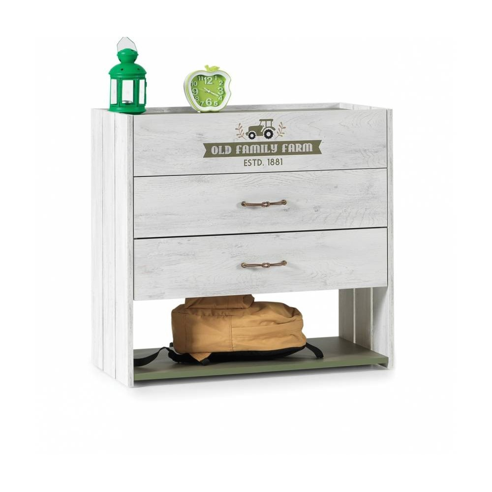 Farm chest of drawers, with three