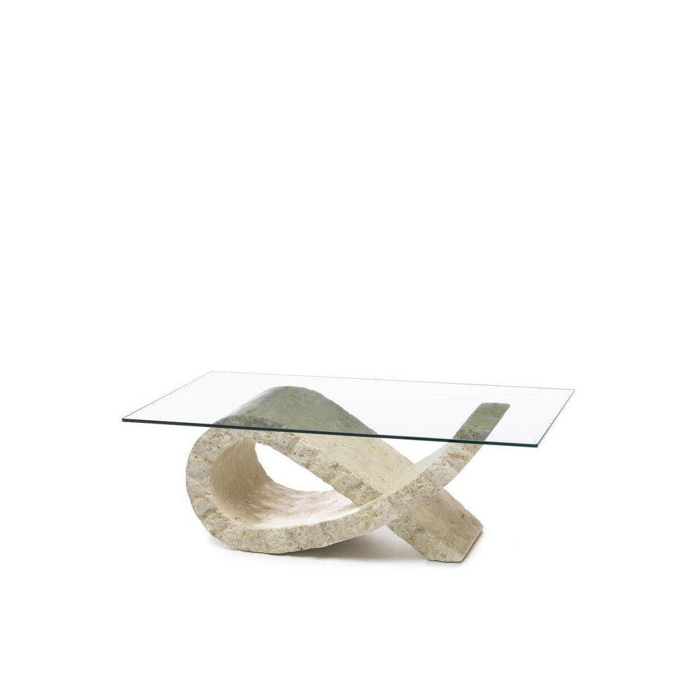 stones bow cut out living room table