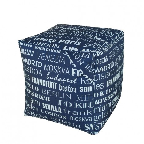 Pouf Sacco Cube waterproof for outdoors with world cities fabric