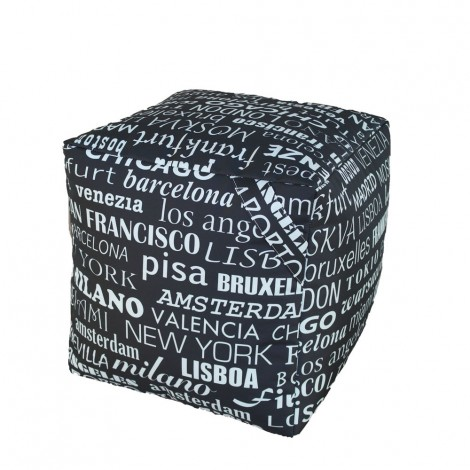 Puf saco Cube impermeable para exterior con tejido city of the world