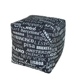 Cube pouf waterproof for outdoors with fabric cities of the world