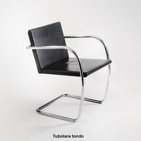 Re-edition of the Brno chair by Ludwig Mies van der Rohe round tubular or flat bar