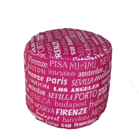 Pouf Waterproof round cylinder bag for indoors and outdoors, also in city fabric