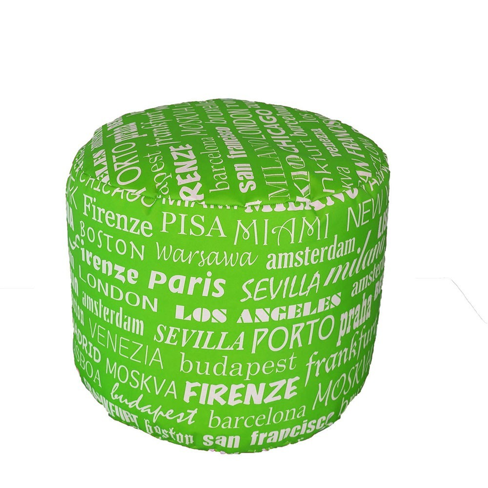 Waterproof round cylinder pouf for inside and outside also in city fabric