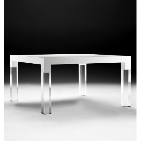 MIES table in solid wood and plexiglas legs