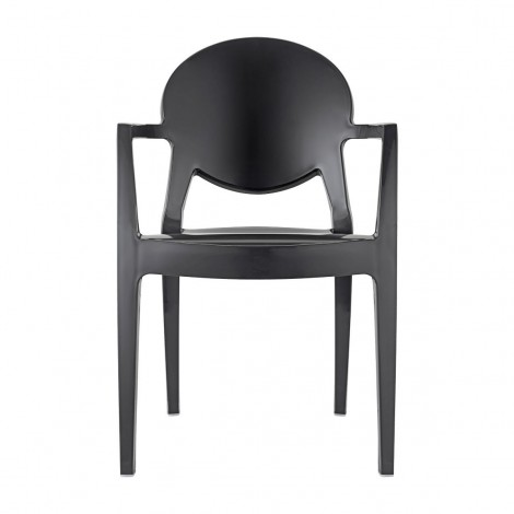 Igloo Technopolymer chair with armrests available in two different finishes and stackable
