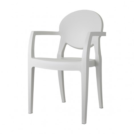 White Igloo chair in Technopolymer with armrests on the front