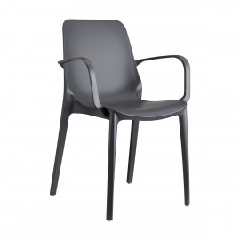 Ginevra black outdoor chair by Scab with armrests