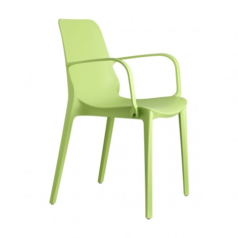 Ginevra green outdoor chair by Scab with side armrests