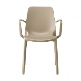 Ginevra dove-gray outdoor chair by Scab with armrests