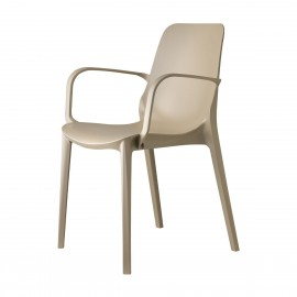 Ginevra dove gray outdoor chair by Scab with armrests, side view