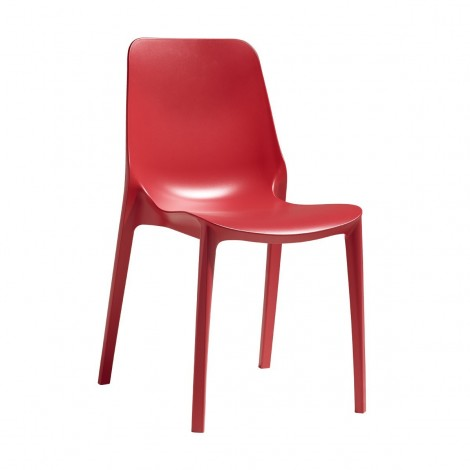 Ginevra red front chair for interiors and exteriors by Scab