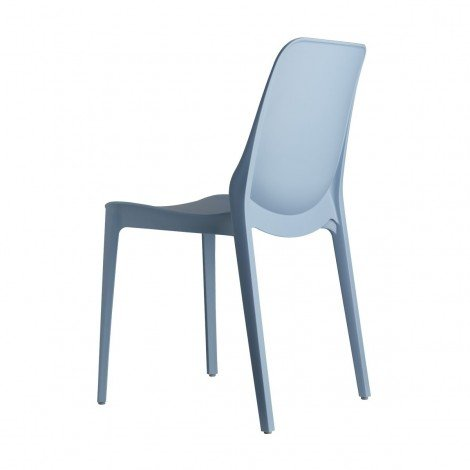 Light blue Ginevra chair, rear view, for interiors and exteriors by Scab