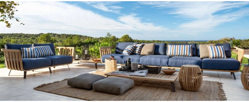 Kasa-store outdoor sofas with removable covers and rattan