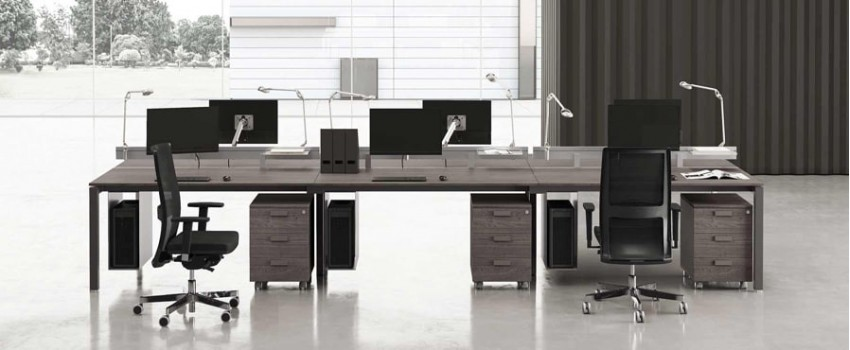 Office furniture: desks, revoling and ergonomic chairs and armchairs
